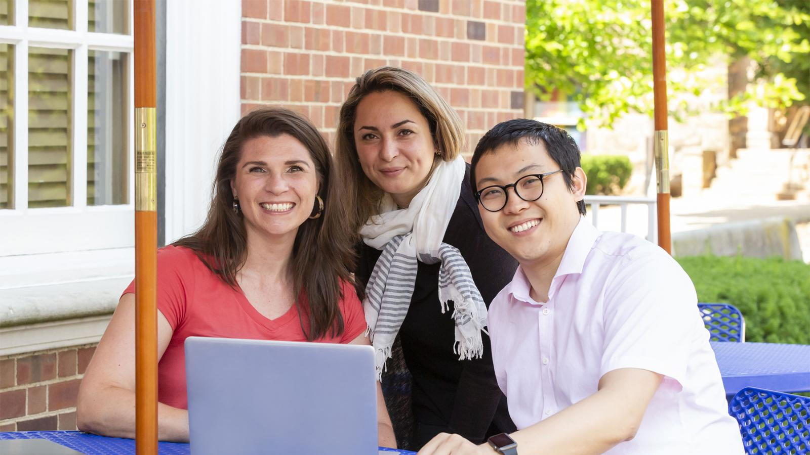 PhD students on patio