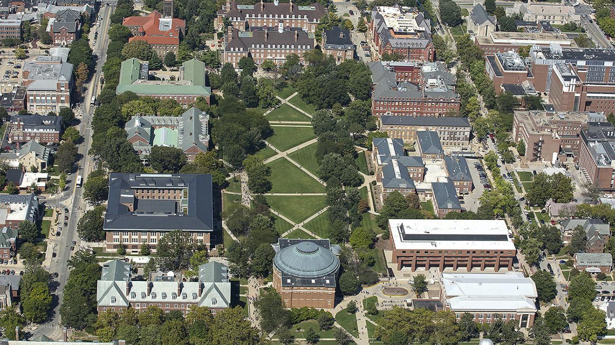 birdseye view of the Illinois campus